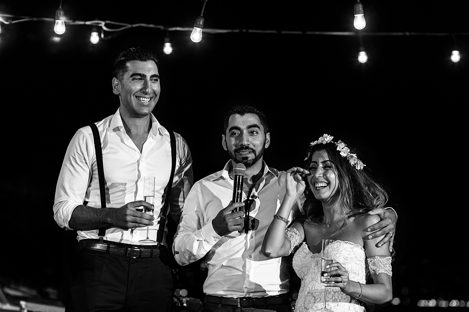 Bride laughs at her brother's speech