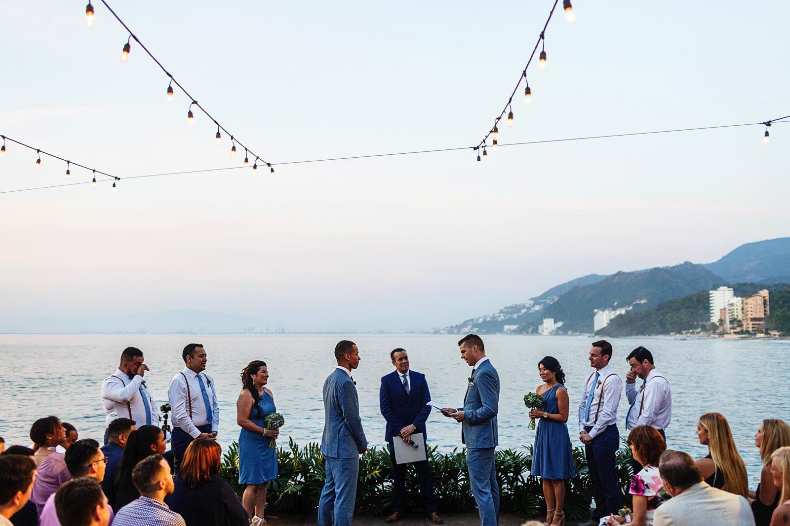 Wedding ceremony at La Mansion Vallarta facing the ocean and the mountain line from Puerto Vallarta