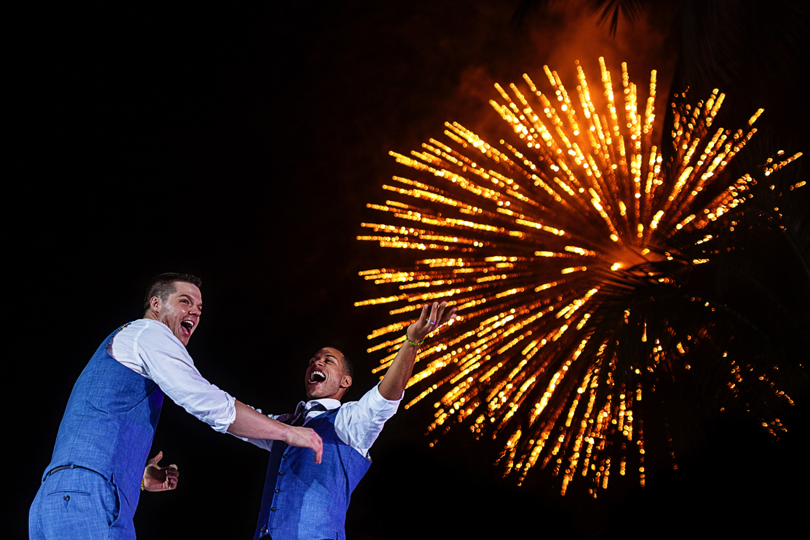 Fireworks in the sky at the end of the wedding dance