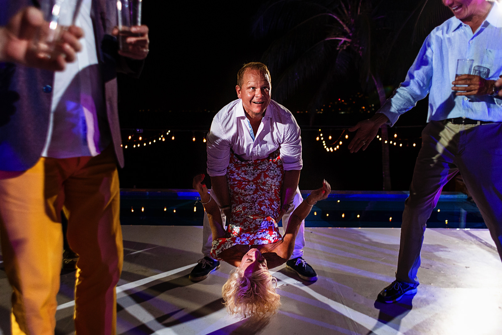 Wedding guests going crazy at the dancefloor