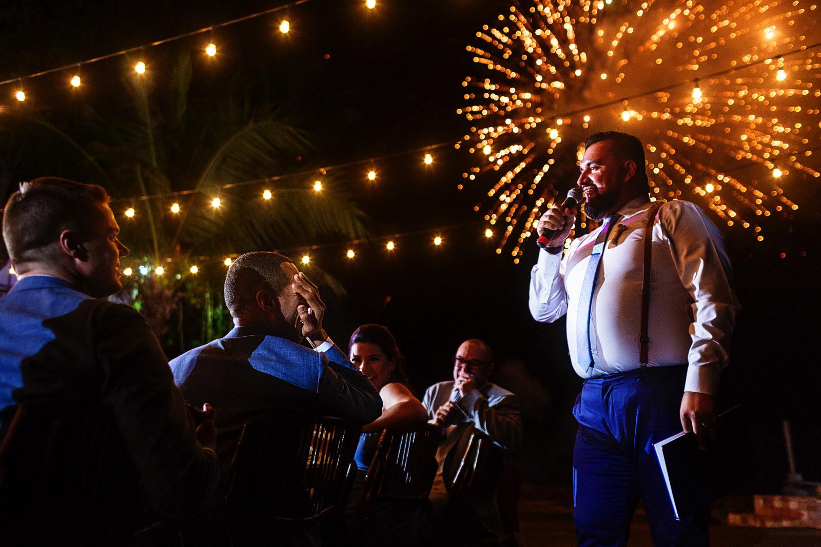 Next door wedding's fireworks start during bestman speech