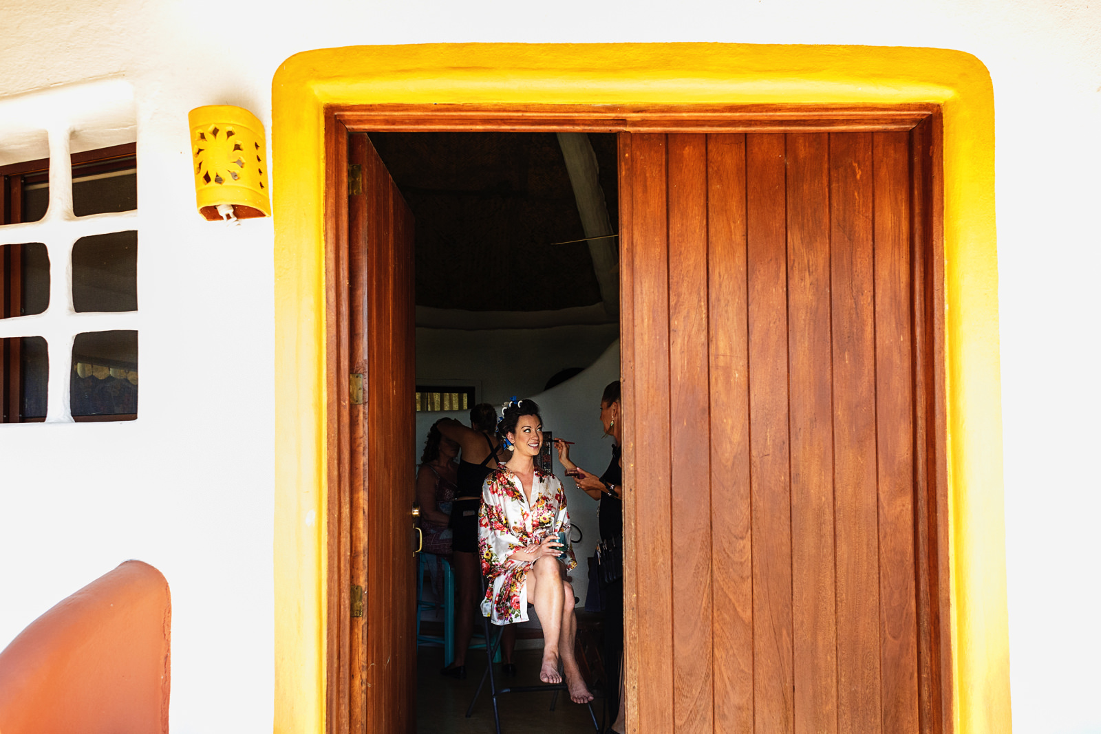 Bride getting ready with hair and make-up at Casa Rana Verde in Sayulita