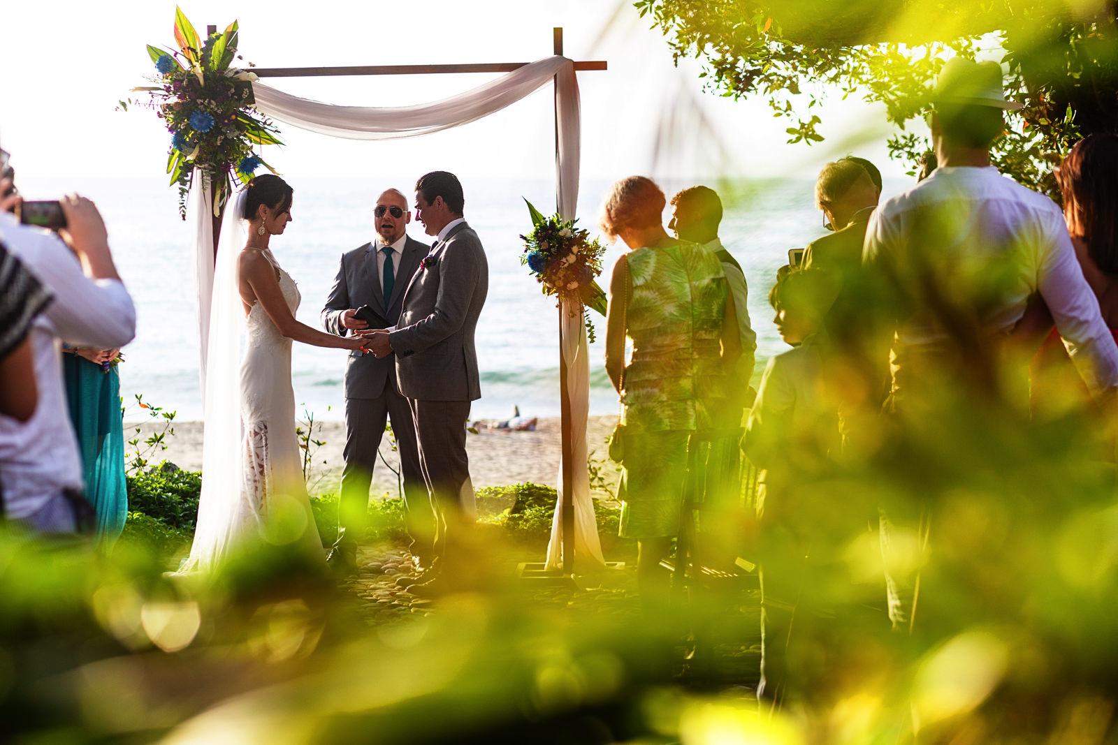 Destination wedding ceremony in process at a villa in Sayulita, Mexico