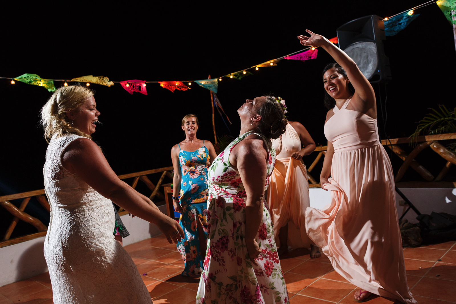 All girls at the dance floor with the bride at the wedding party in Miramar Yelapa.