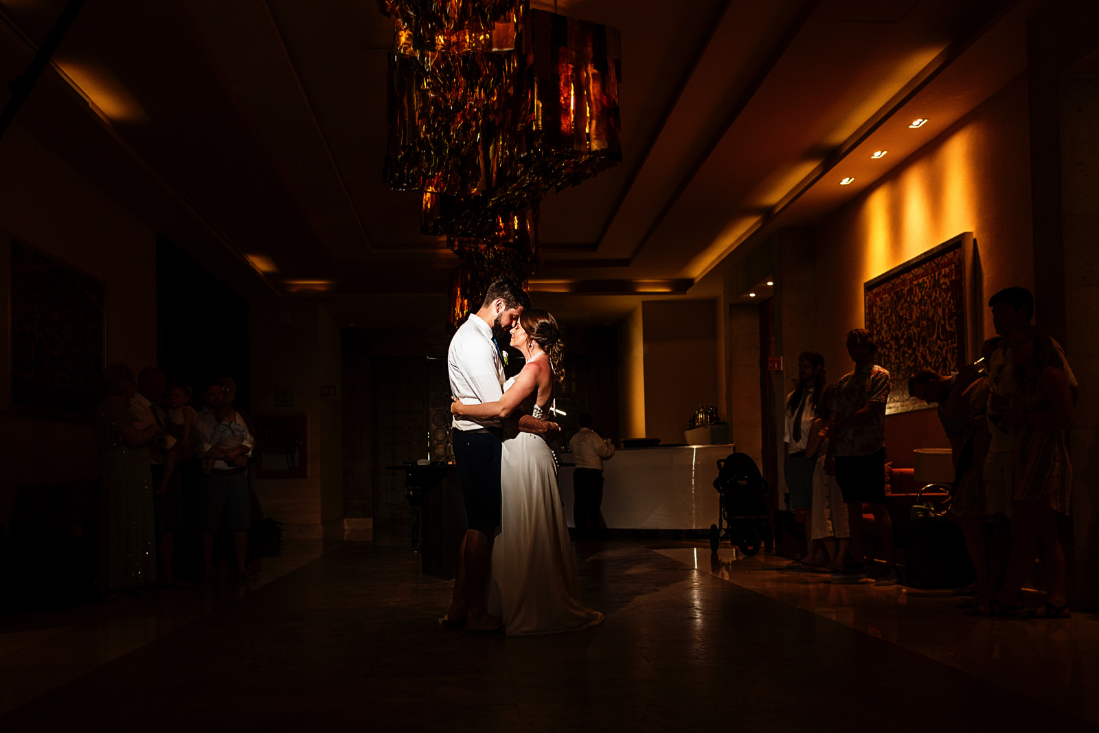 Bride and groom during their first dance at the Hyatt Ziva ballrooms in front of all of their friends and family.