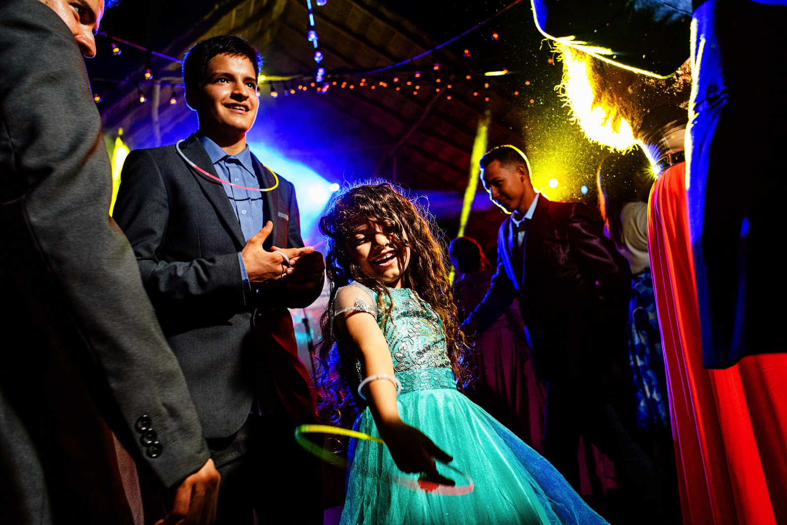 Little girl dancing at her uncle's gay wedding.