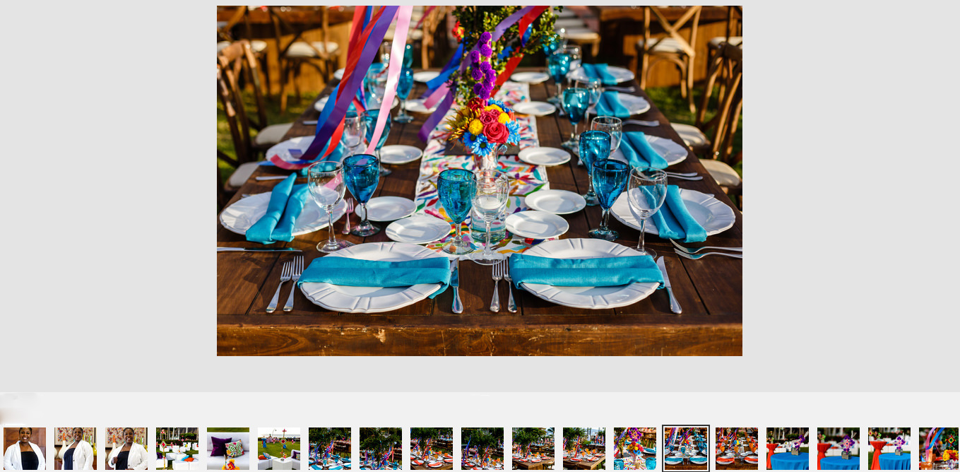 Table for ten people decorated with huichol art and accents, gallery cover for utilligent group in Puerto Vallarta, at Sheraton Bugamvilias.