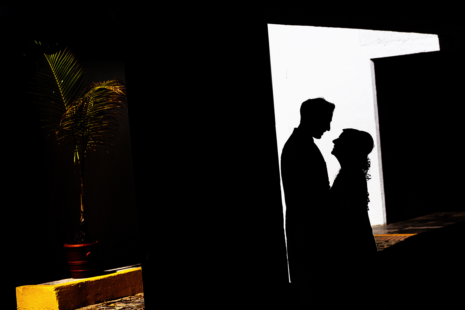 Silhouette of hindu couple portrait of groom and bride