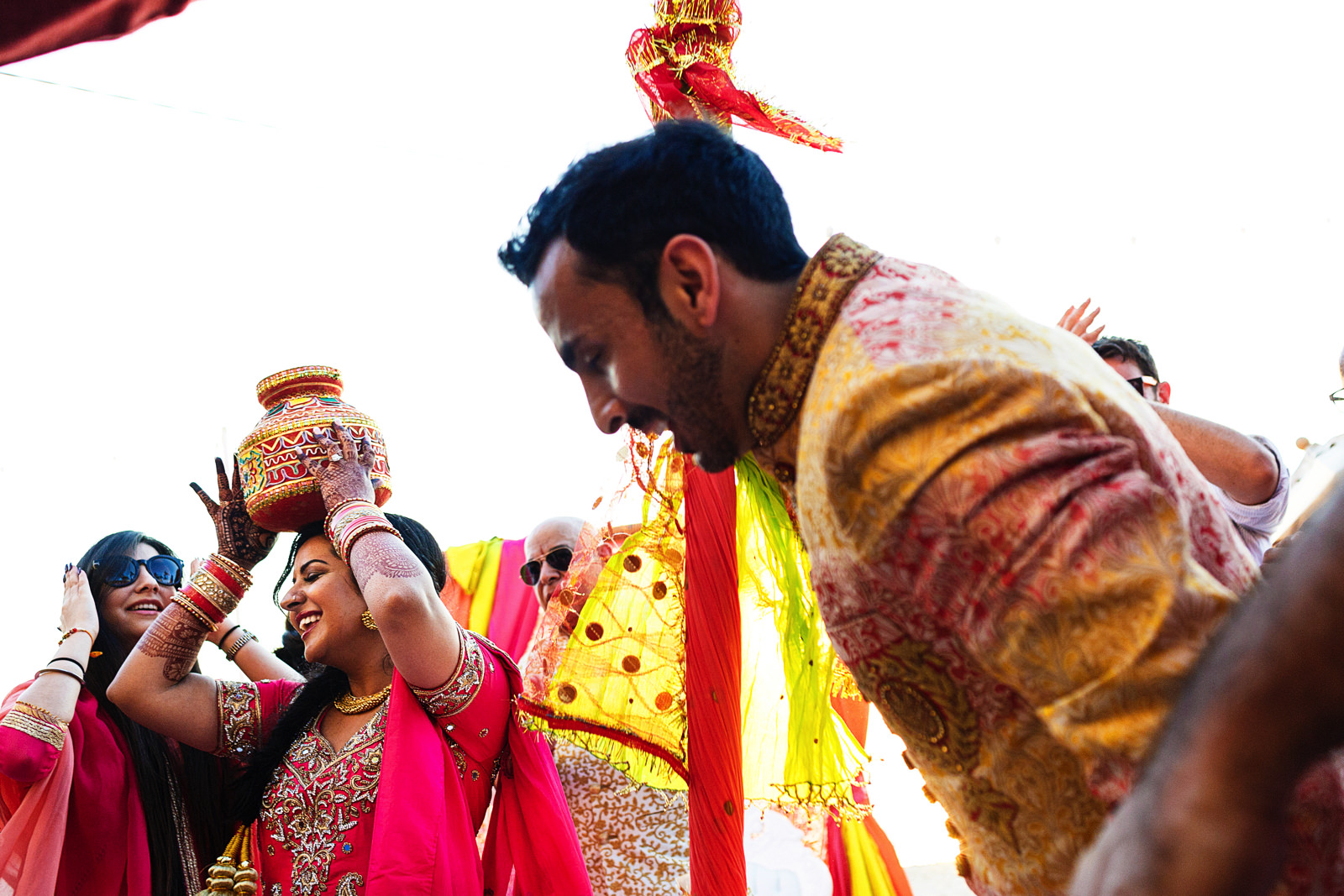 Bride and groom dance at traditional hindu party