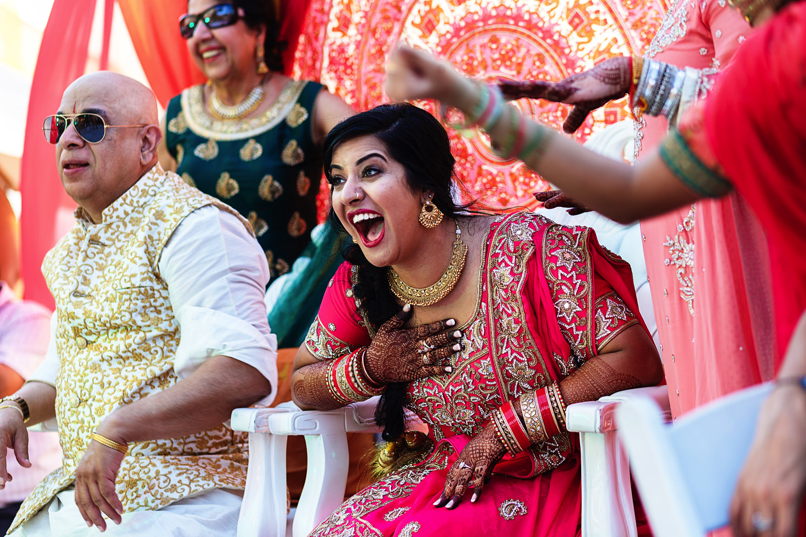 Reaction of bride while seeing groom performing