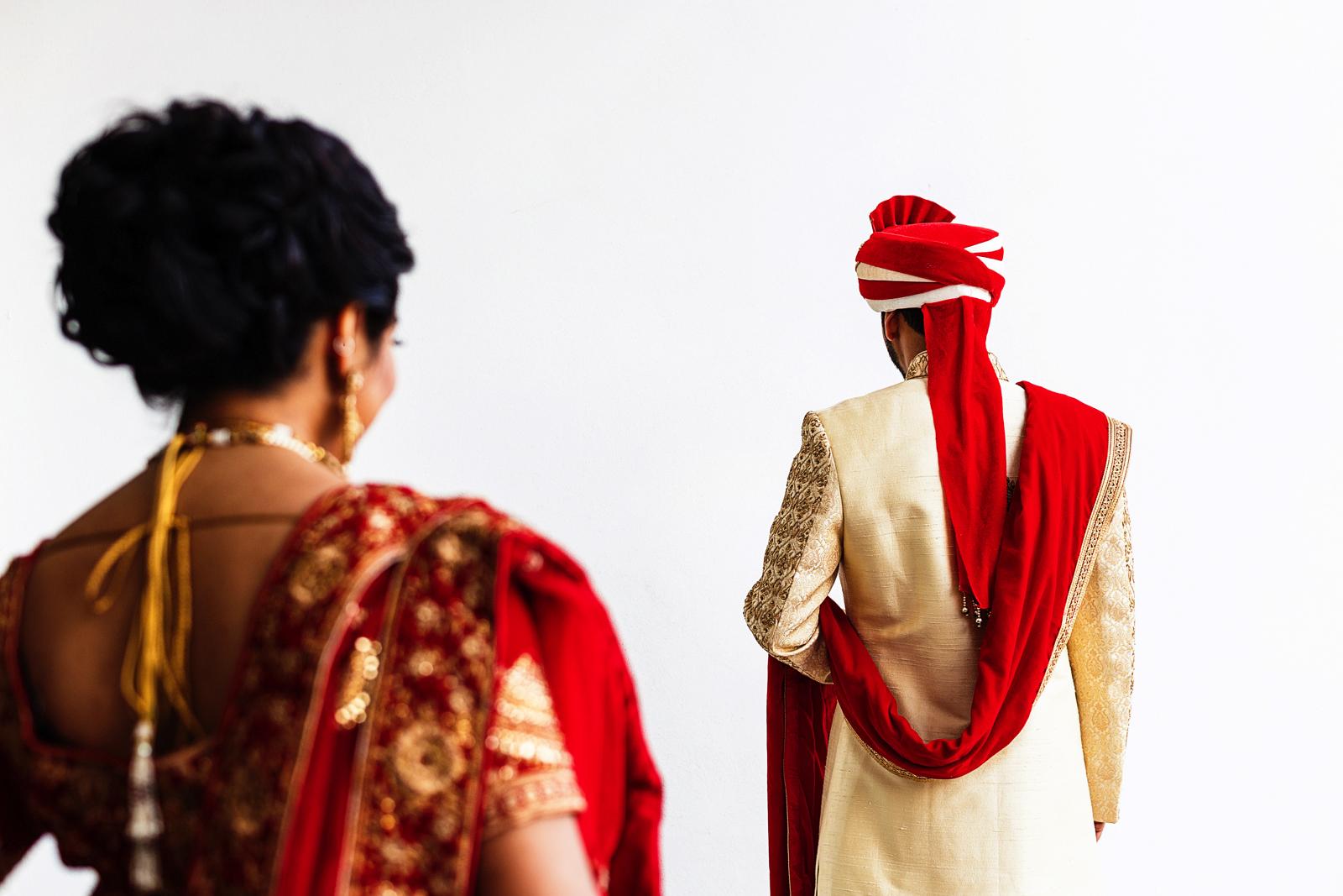 First look of bride and groom, hindu wedding