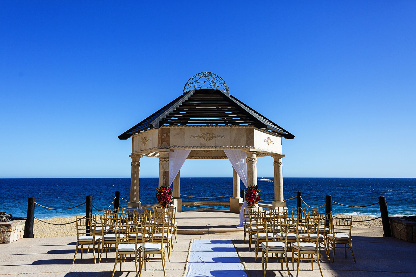 Ceremony setup for wedding at Grand Solmar in Cabo San Lucas, Mexico