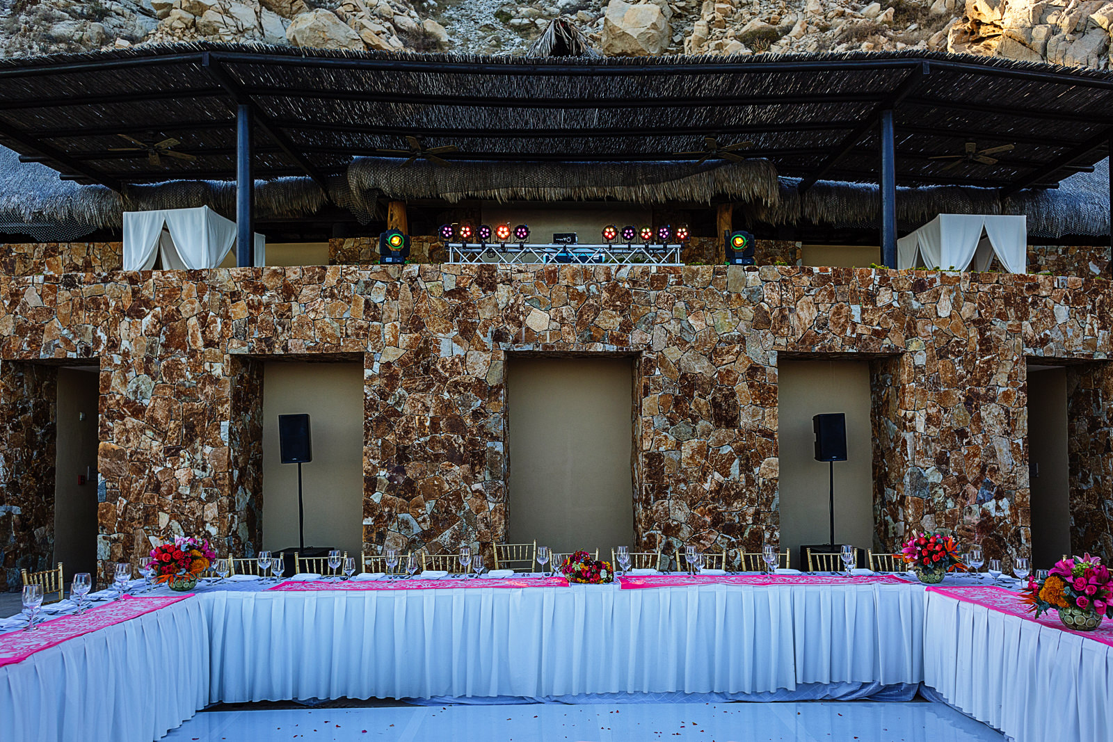 Wedding reception setup at Grand Solmar Land's End resort in Cabo San Lucas