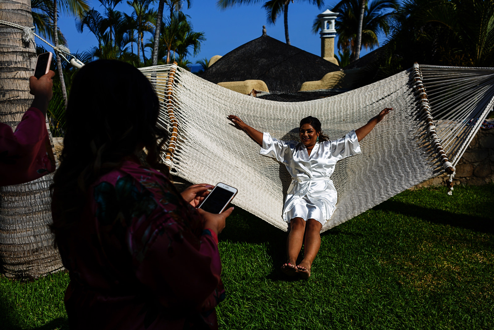 Bride swinging on a hammock