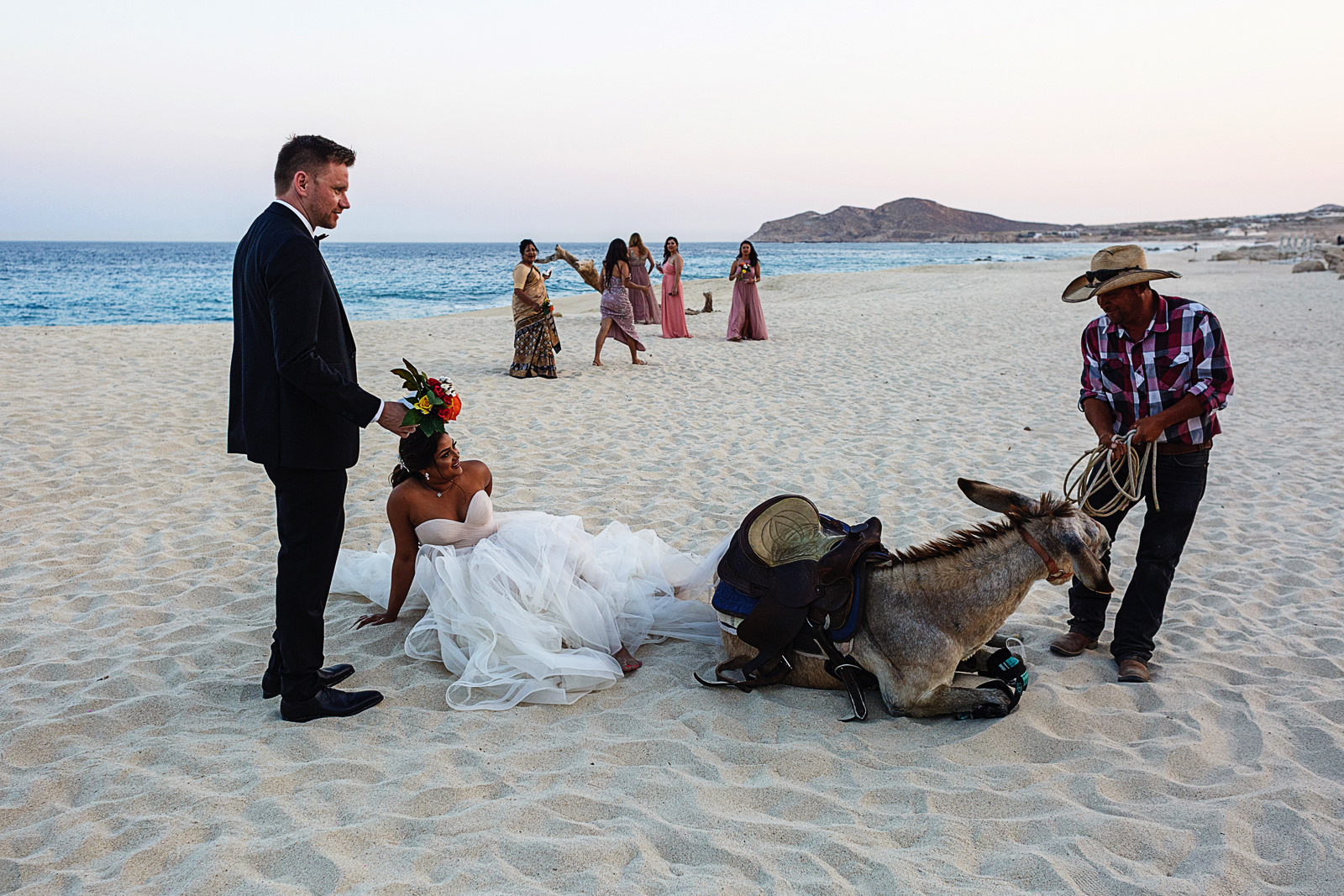 A donkey falls throwing the bride on the beach in Cabo San Lucas