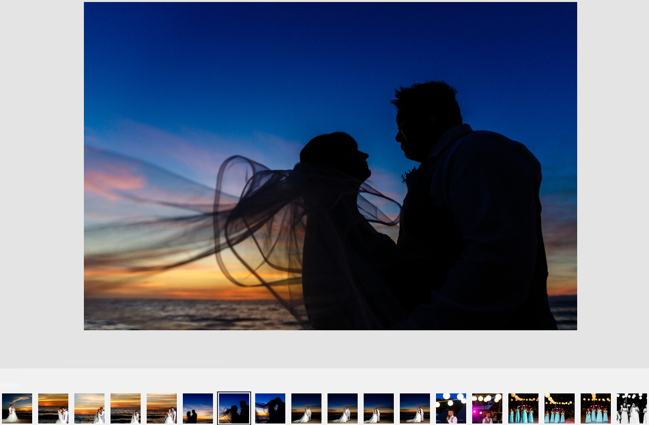 Silhouette of recently married couple on the sunset