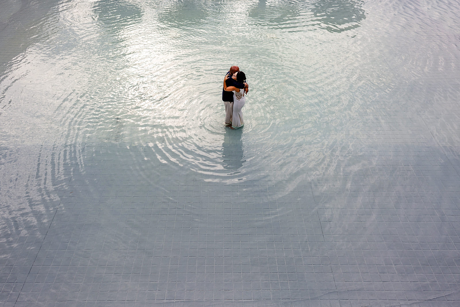 Bride and dad having a dance in the middle of the water mirror at La Patrona Beach Club in San Pancho, Nayarit.