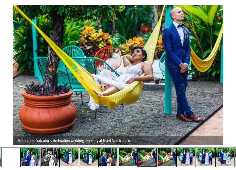 Bride on a hammock and groom leaning against a pole at Hotel San Tropico in Puerto Vallarta.