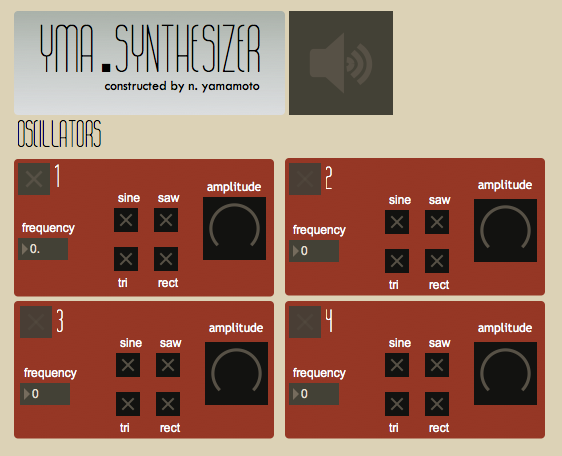 First Oscillator panel is the first display screen for the YMA Synthesizer. This interface can be used with MIRA (iPad) and it compatible for control by external MIDI devices.