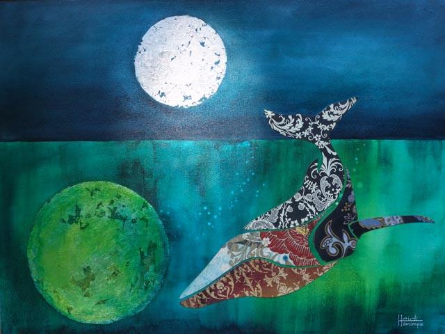 Celestial Whale - mixed media