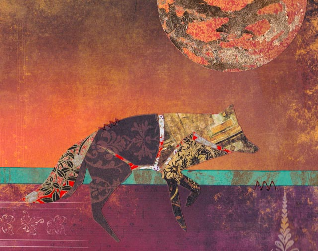 Fox at Sunset - paper collage