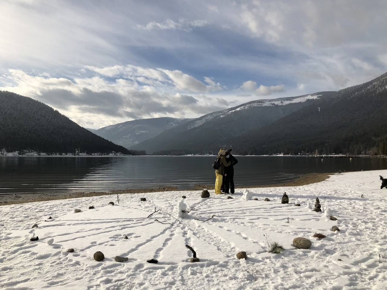 Making a mandala on the shores of Kootenay Lake. (Classmates in the background.)