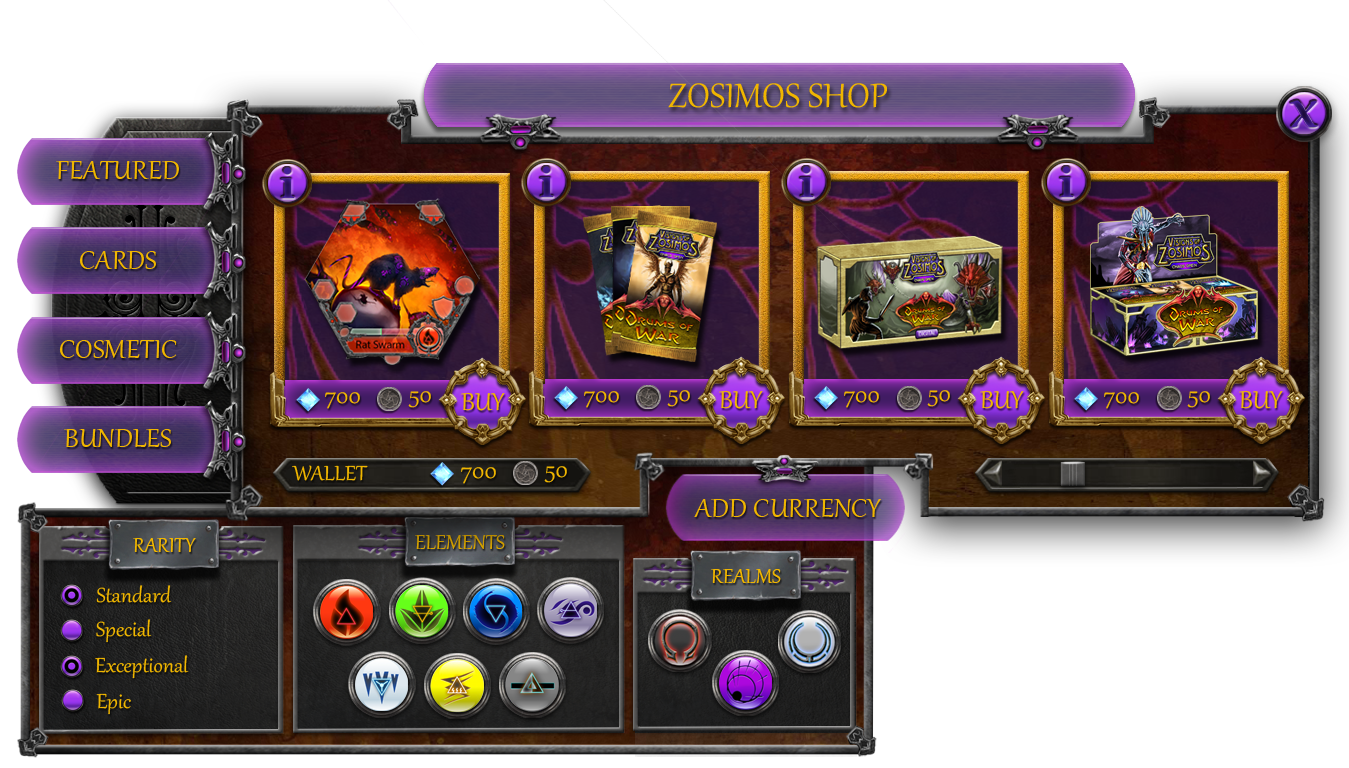Visions of Zosimos In-Game Store Window