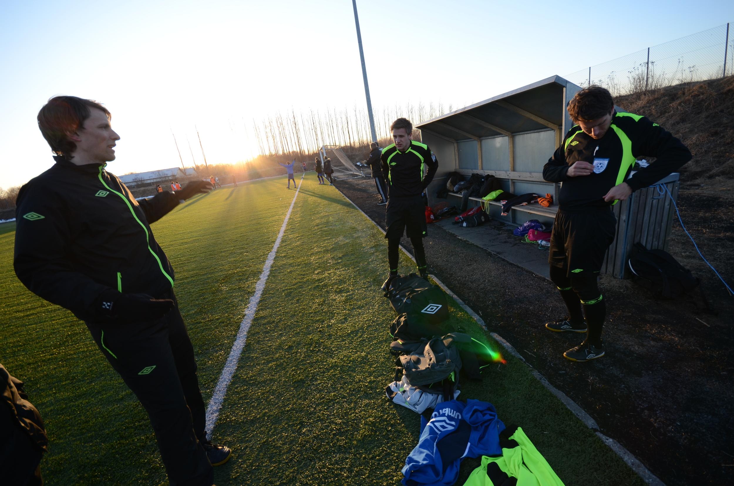 På treningsleir:  Kjetil Nordmark, Marcus Nilsen og Morten Flaten før kamp i Danmark.