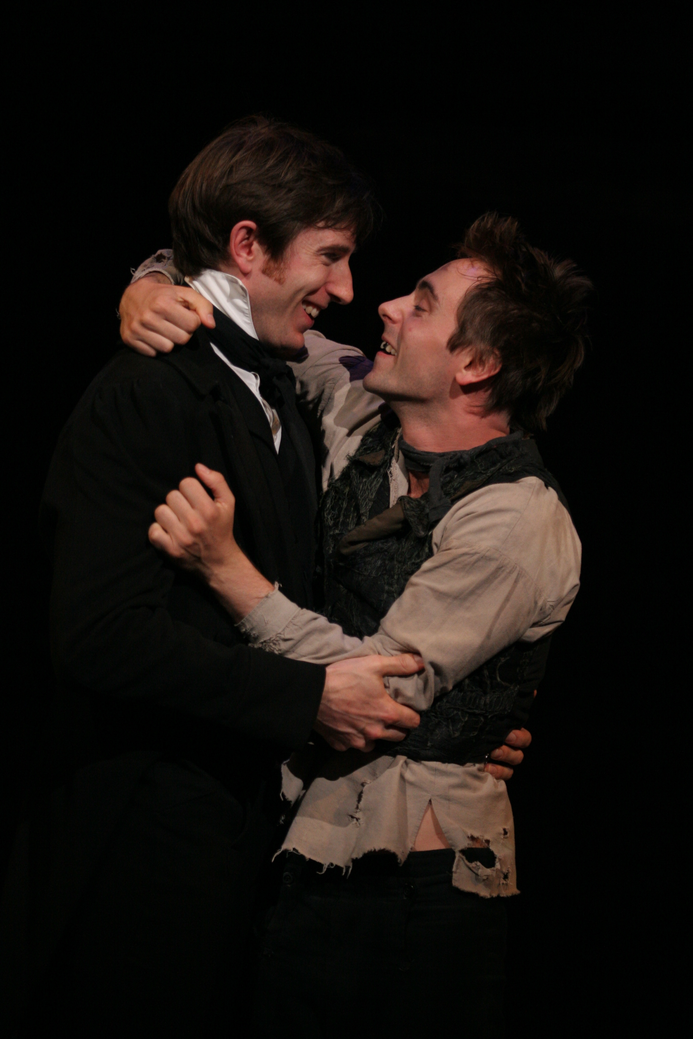 Daniel and David Dawson (as Nicholas and Smike) in the Chichester Festival Theatre production of The Life and Adventures of Nicholas Nickleby Parts I and II. 2006.