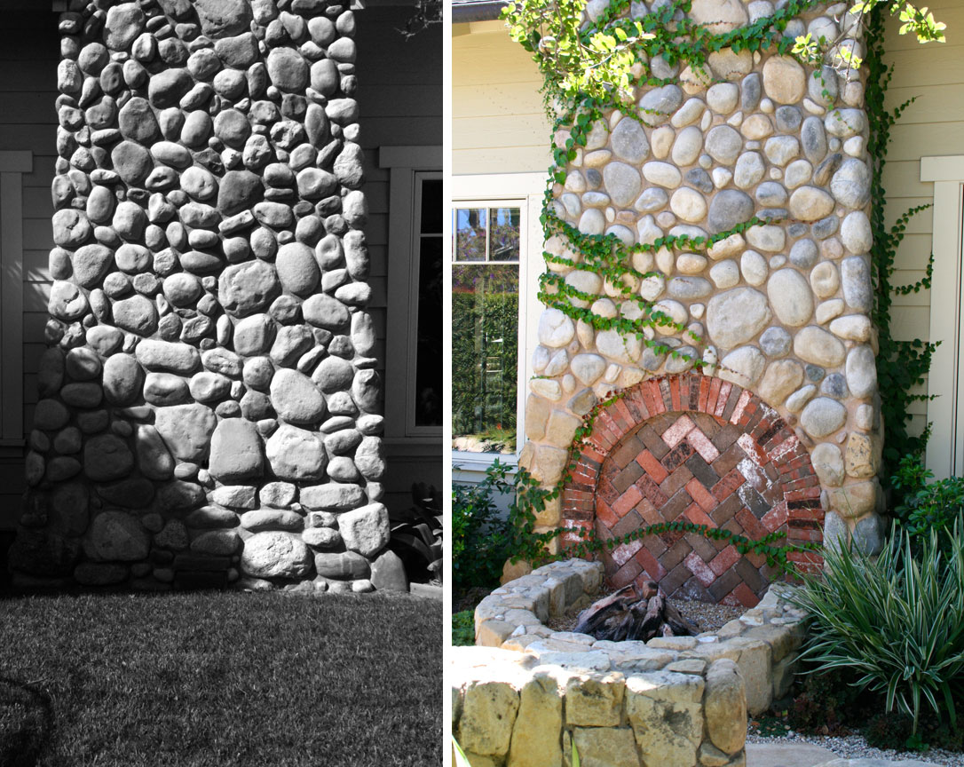 Exterior fireplace before and after: conversion of unused space into focal point and new outdoor firepit