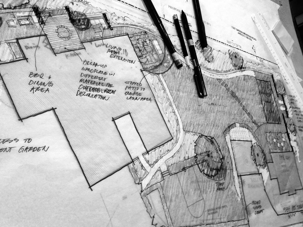 Design development for landscape renovation in Montecito
