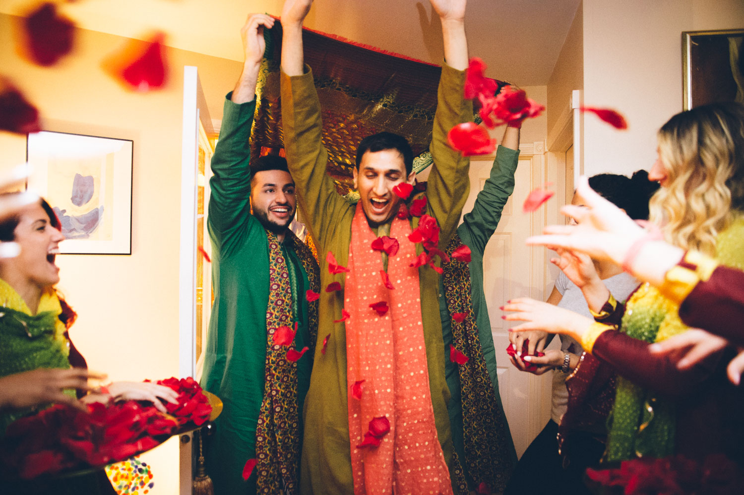 Red roses thrown in celebration as Pakistani groom enters Brides home