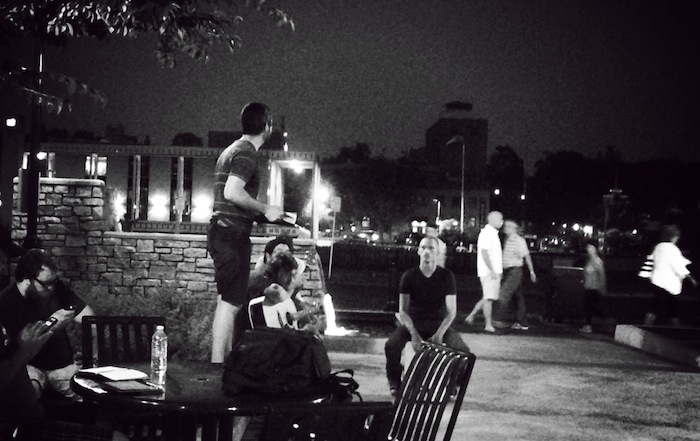 Oliver B preaching in one of the plazas in St. Charles.