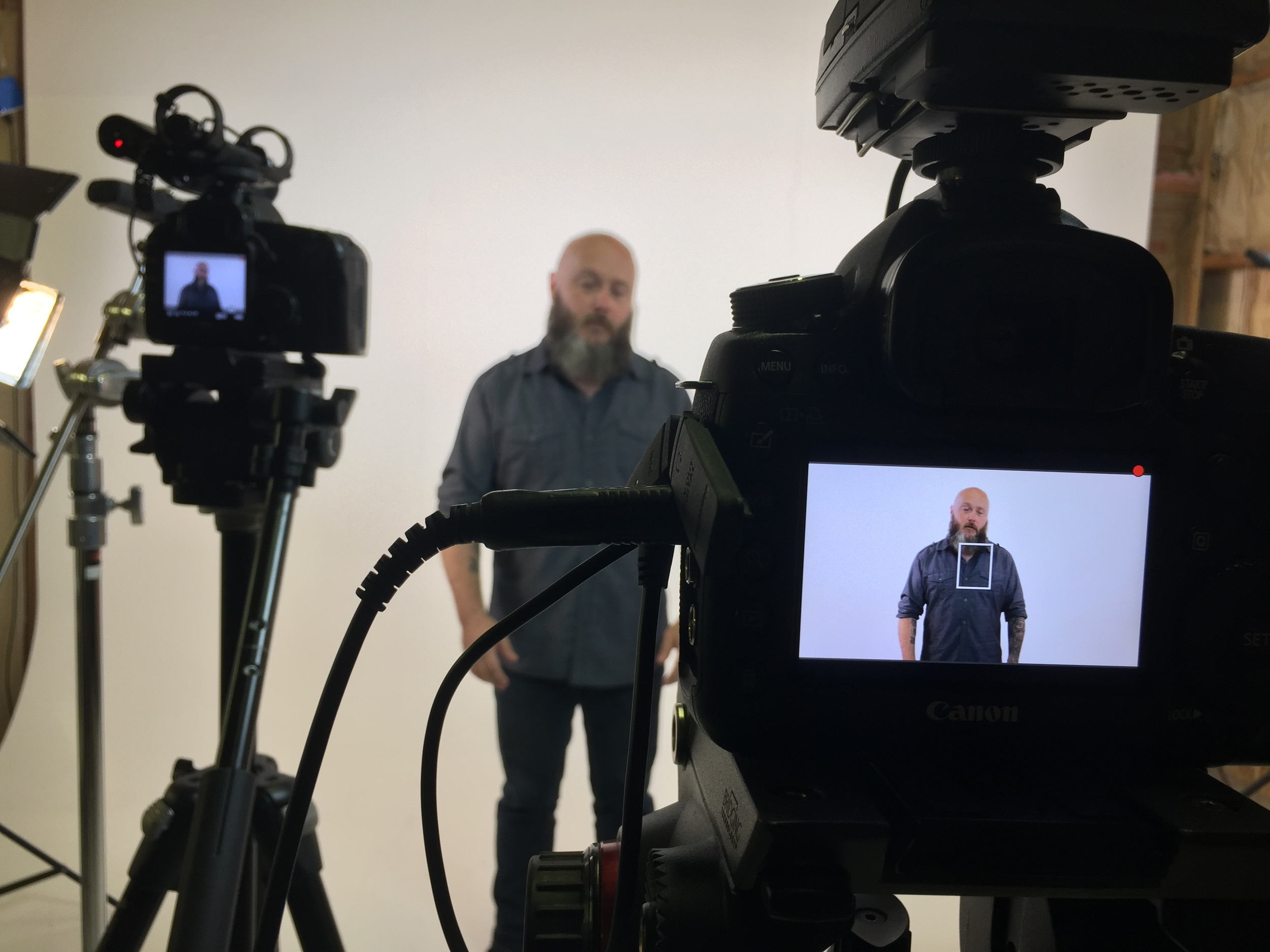 Recording a video on the doctrine of the Trinity.