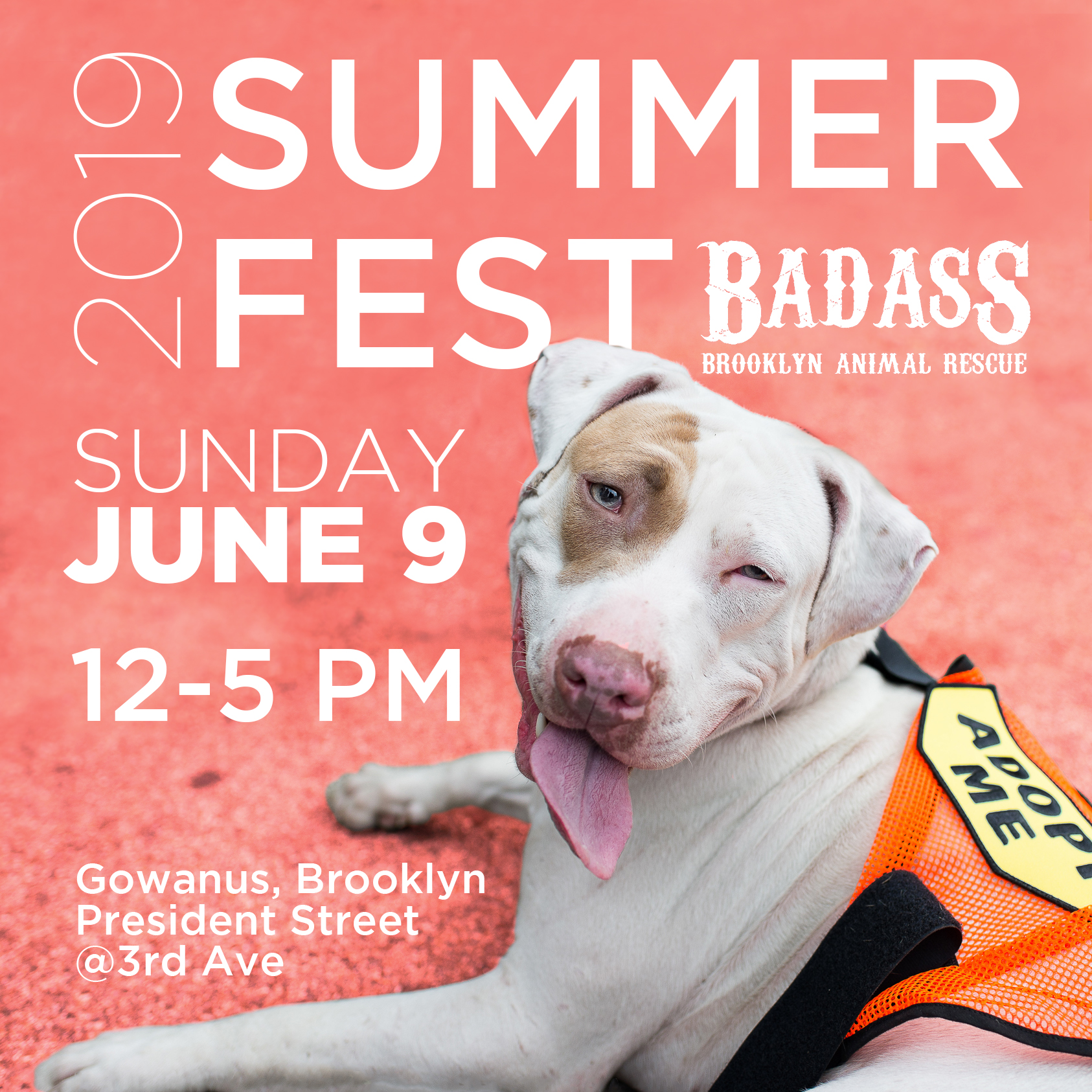 The 7th Annual Badass Brooklyn Summer Fest is upon us and this year will be better than ever! This FREE, large-scale street festival featuring Brooklyn-based artisanal merchants, local food vendors, craft beer, dog friendly activities, a Badass adoption event and a Badass raffle cannot be missed! Welcoming hundreds of dog lovers and their pups, the Summer Fest is our second largest event of the year and provides Badass Brooklyn Animal Rescue with the support we need to continue the important work of rescuing dogs from high kill shelters in the mostly rural South. RAIN OR SHINE!  HIGHLIGHTS INCLUDE:  - 1:30-3:30 Badass Brooklyn Animal Rescue adoption event - Doggie Kissing Booth (with our favorite Badass pups & alumni) - Dog Reunions and Shelter Meetups - Dog Food tasting with  Evermore Pet Food   - Badass Vendors including  Pierless Fish Corp ,  Malz Palz ,  Wild One ,  Pawmiscous  - Agility Course with  Dogboy NYC  - Poochinins by  Shake Shack    - Ask the Vet with  All Creatures Veterinary Hospital  - Pet Portraits by  Andrea Cáceres  - Tacos by  Tacos Cholula   As if that's not enough to get you there, take a shot at winning some of these amazing RAFFLE items including gift certificates and goods from:  Nitehawk Cinema - Prospect Park ,  The William Vale ,  CarrieDraws ,  CityWell Brooklyn ,  Barry's Bootcamp New York City ,  Cyc Fitness UES ,  Dirty Precious ,  Pure Barre ,  HouseBroken, Inc. , incredible tickets to the Rolling Stones, and many more!!  Special thanks to our Rescue Hero Sponsors  Veterinary Emergency and Referral Group  and  NYC Pooch , Top Dog Sponsors  Eva's Play Pups  and our partner  Canal Bar . Drink specials provided by  Tito's Handmade Vodka  and  Jack's Abby Craft Lagers .    To purchase special-priced raffle and beer tickets,  please click here . You'll pick up your tickets at the Badass information booth at the top of the street.