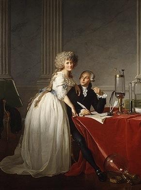 """Jacques-Louis David, Antoine-Laurent Lavoisier (1743–1794) and His Wife (Marie-Anne-Pierrette Paulze, 1758–1836), 102 1/4"""" x 76 5/8"""", Oil on Canvas, 1788"""