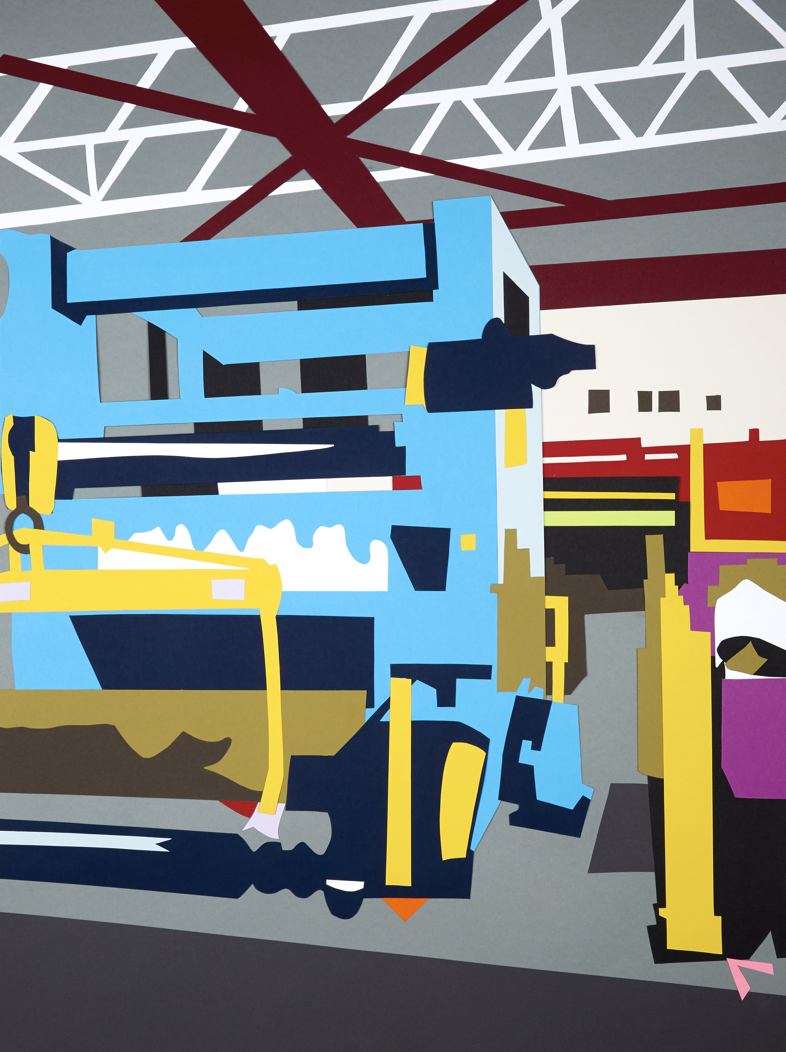 """Factory Made #3 , 2014  Hand-cut paper collage  35"""" x 26""""  [Permanent Collection of The Niles History Center]"""