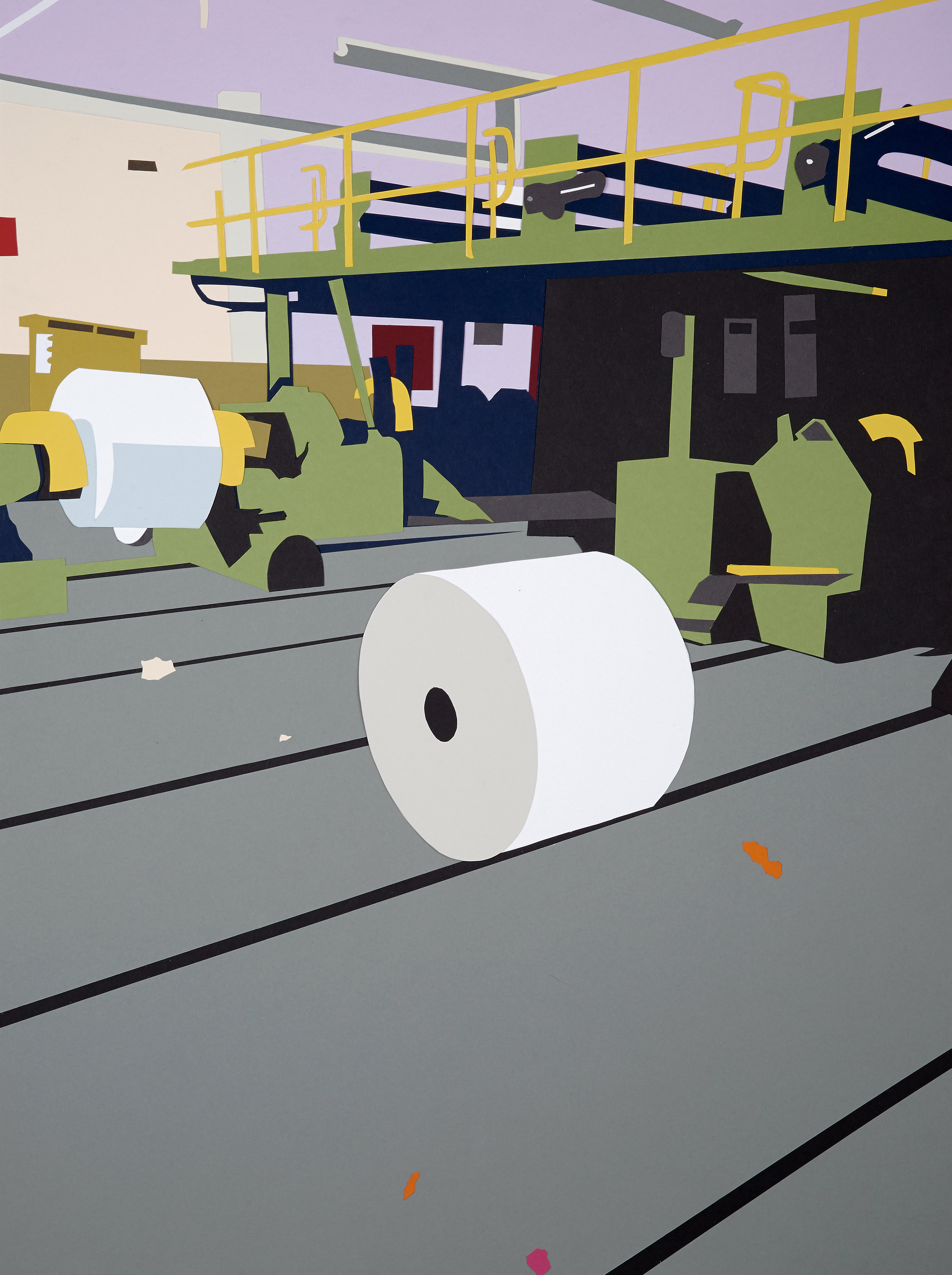 """Factory Made #4 , 2014  Hand-cut paper collage  35"""" x 26"""""""