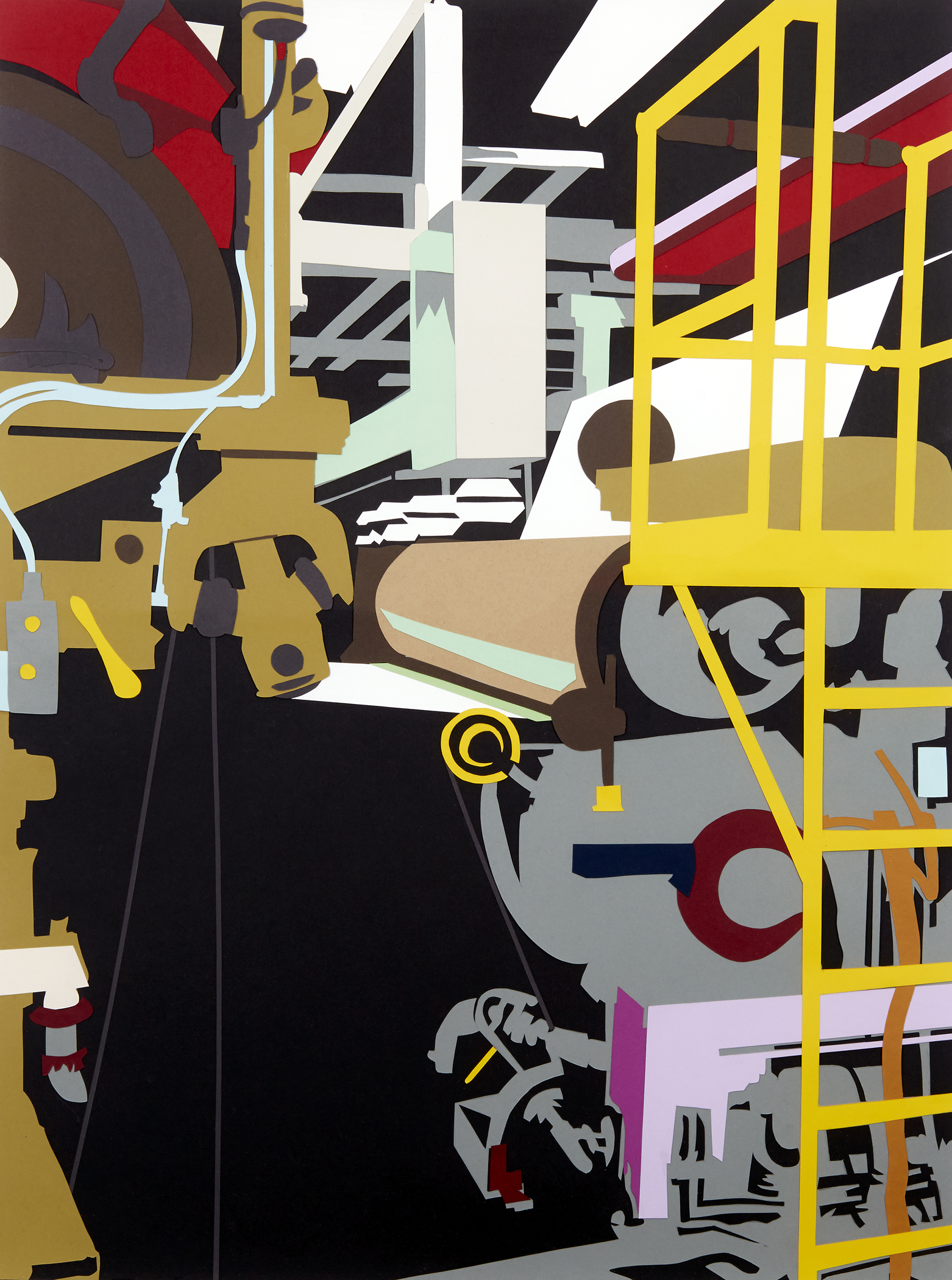 """Factory Made #10 , 2014  Hand-cut paper collage  35"""" x 26""""  [Permanent Collection of The Niles History Center]"""