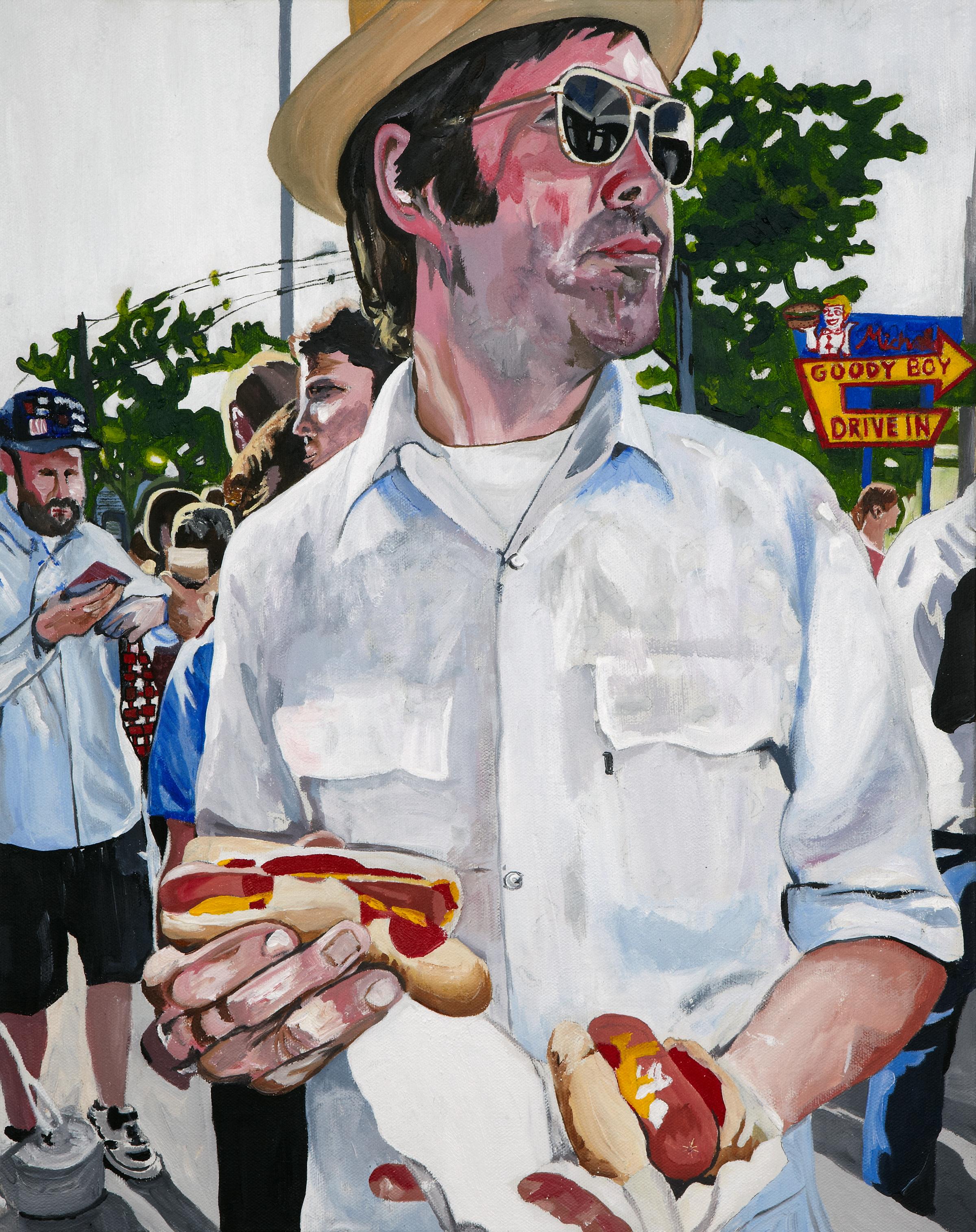 """Hot Dog Hot Shot , 2011  Acrylic on canvas  20"""" x 16"""""""
