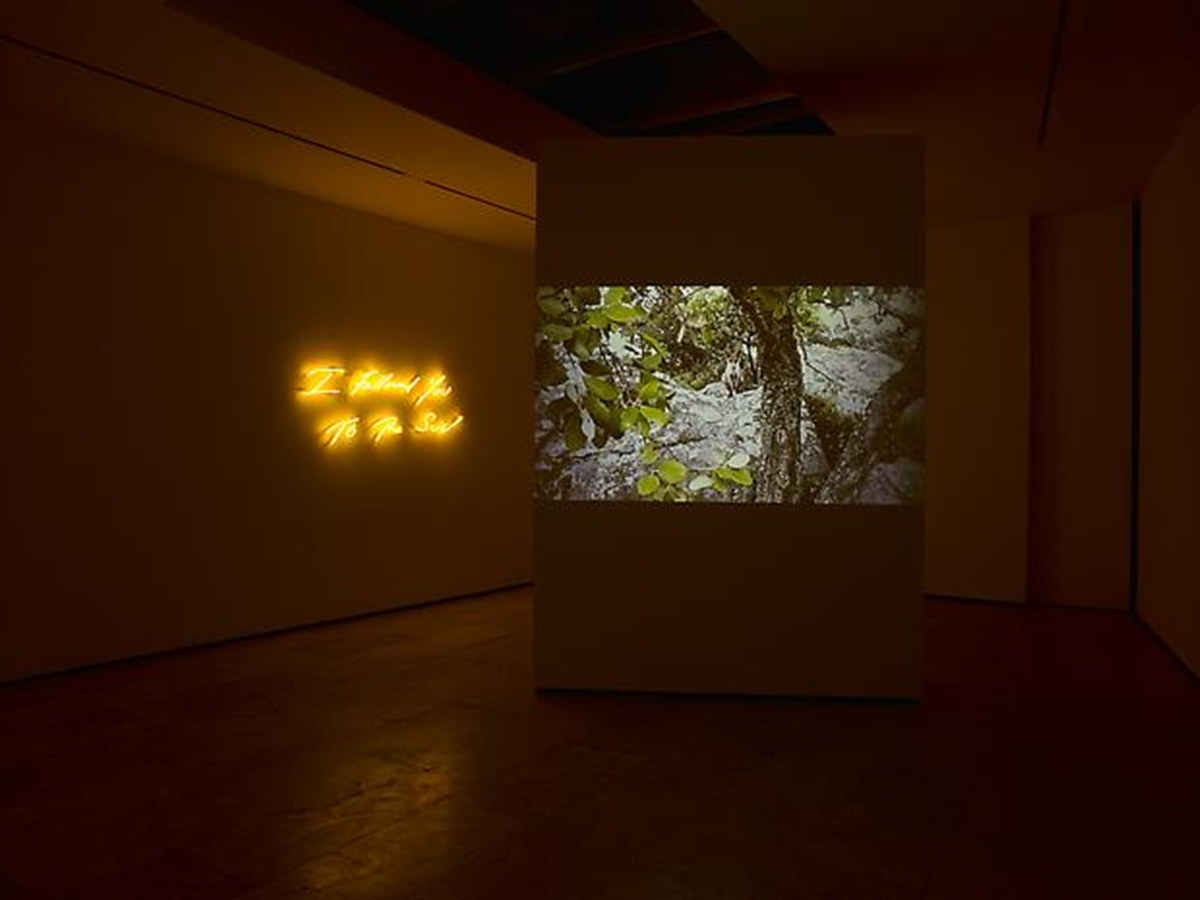 An angle from the back of the Chelsea gallery with a still of the short film and the neon further back