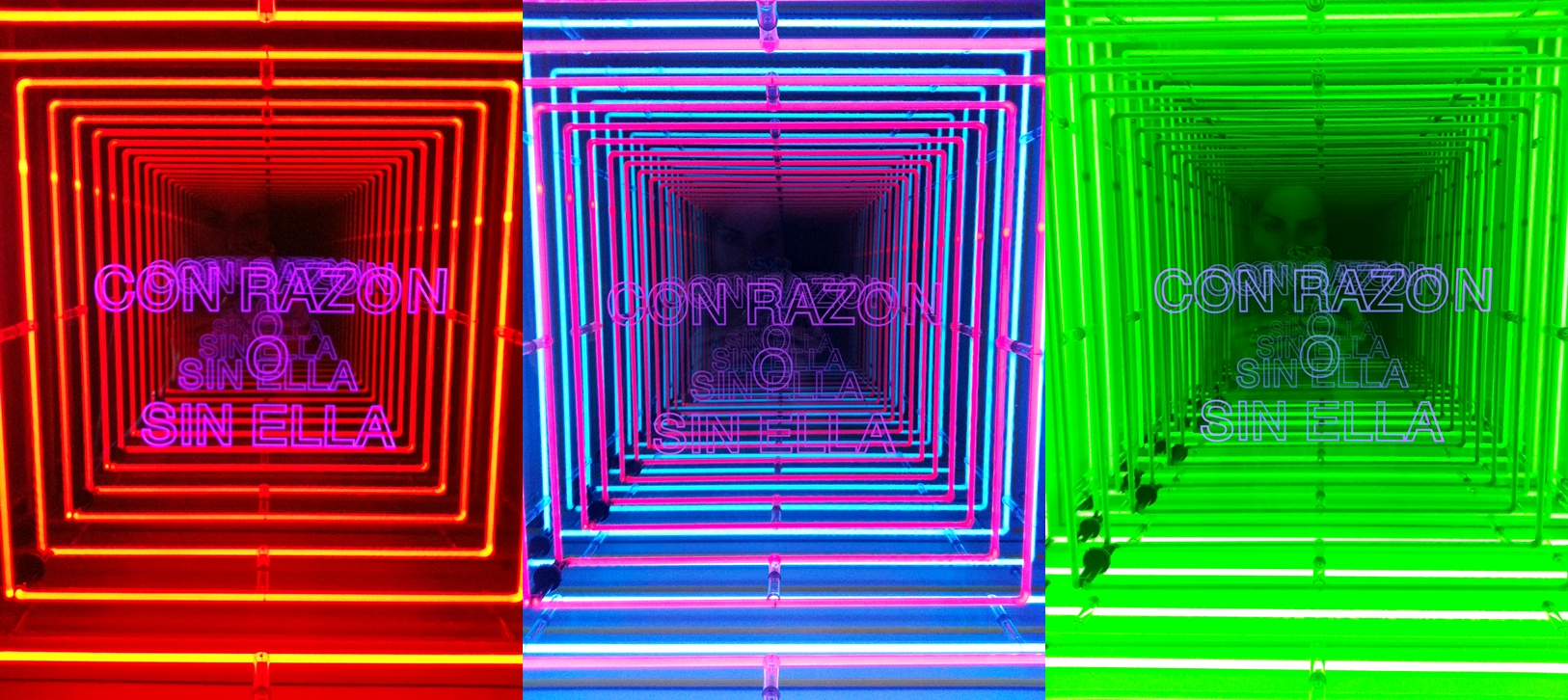 """This is one of Ivan Navarro's pieces in the exhibition """"Where's the Next War?"""" at the Galerie Daniel Templon in Paris. Each square is a different picture I took every time the neons inside changed colors. The words """"Con La Razon o Sin Ella"""" were taken from Goya."""