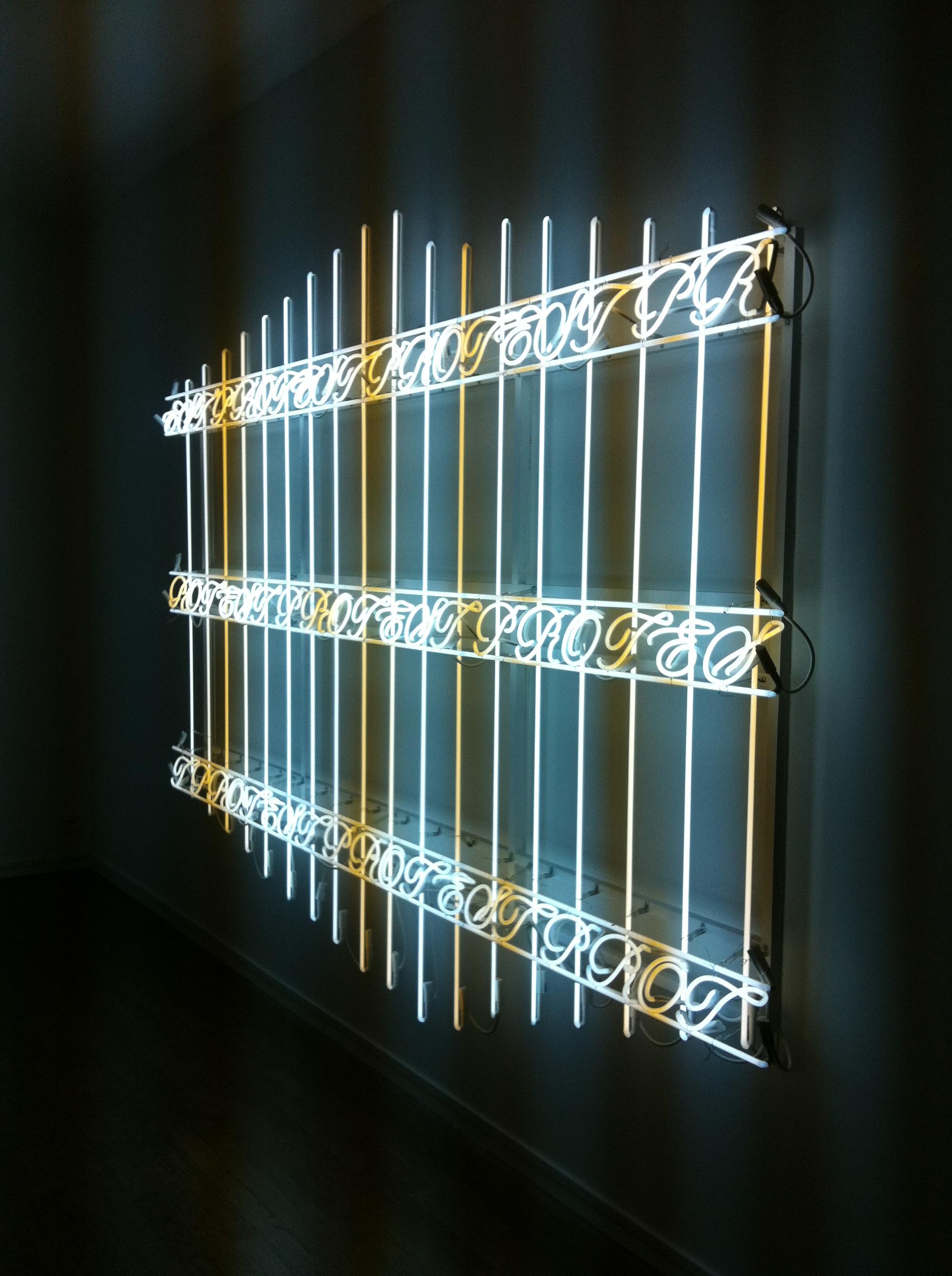 "Ivan Navarro's ""Protestant Fence"" at Galerie Daniel Templon"