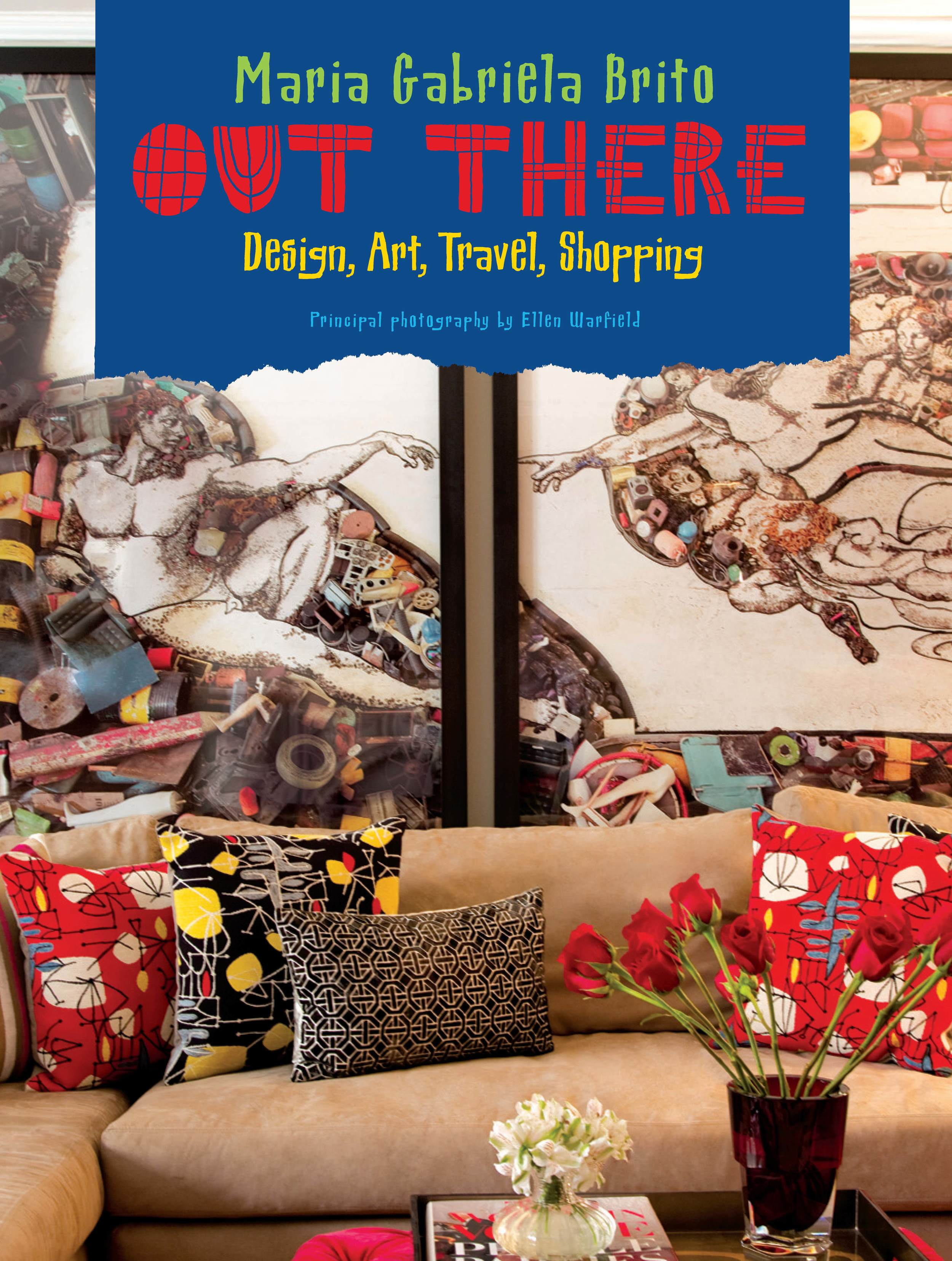 "The cover of my book ""Out There"" with ""The Creation of Adam, after Michelangelo"" (Pictures of Junk) digital c-print diptych by Vik Muniz in the living room I designed for my amazing clients."