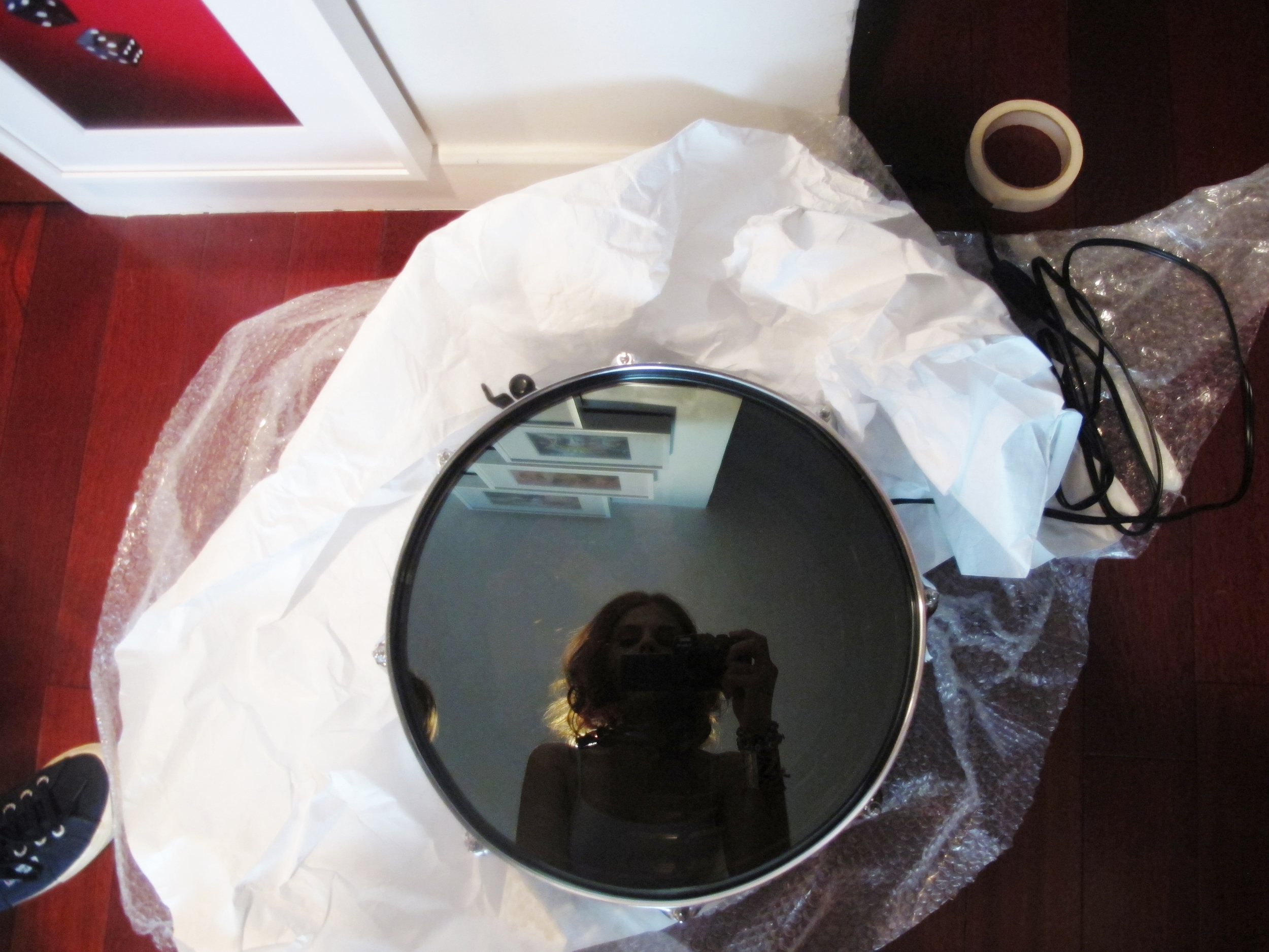"Ivan Navarro's ""War Hole"" drum has arrived and I can't resist a self-portrait before it goes up"