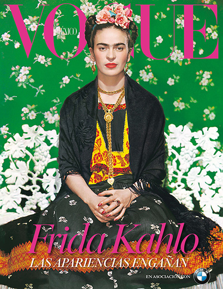 "Vogue Mexico featured Frida in the cover of a special edition supplement in November 2012 that celebrated the opening of the show ""Las apariencias engañan: los vestidos de Frida Kahlo"" which will be on view until January 2014"