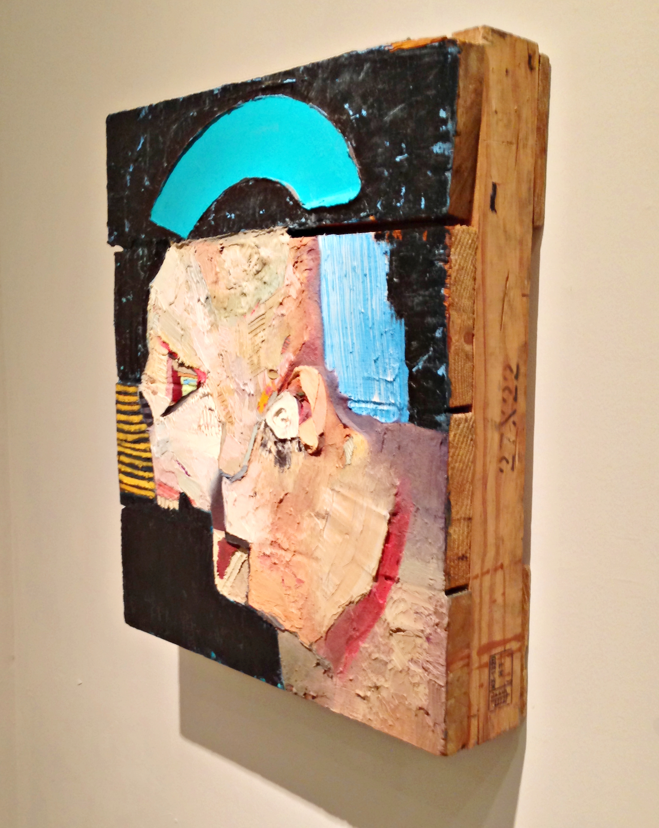 Very creepy, yet very interesting self-portrait on wood by Nicolas Holiber at Allegra LaViola