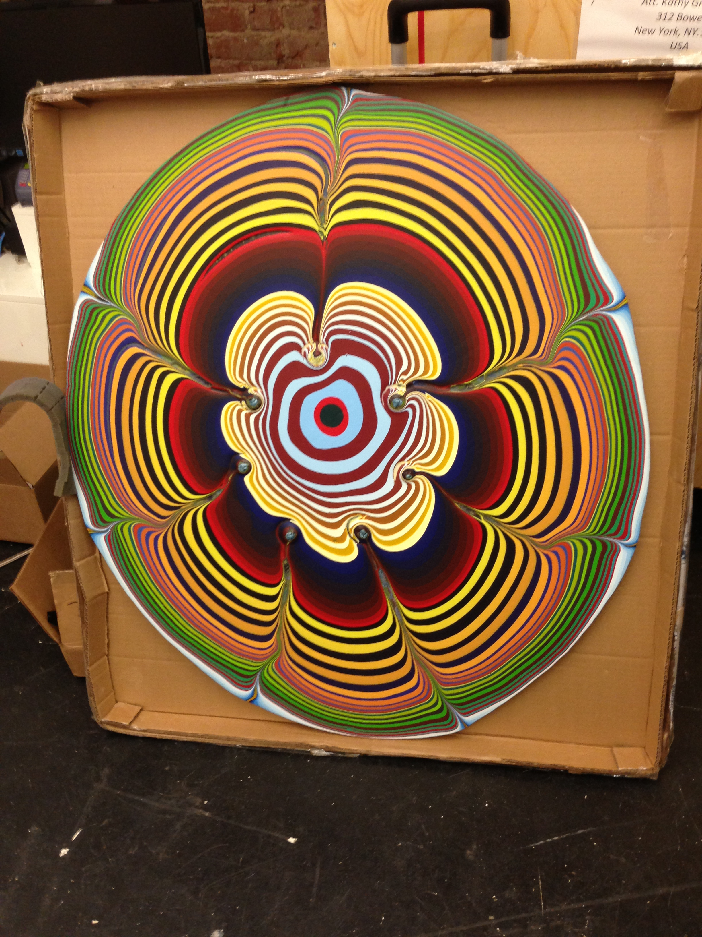 """One of Holton Rower's """"Poured Paintings"""" at The Hole. He is truly a fave of mine."""