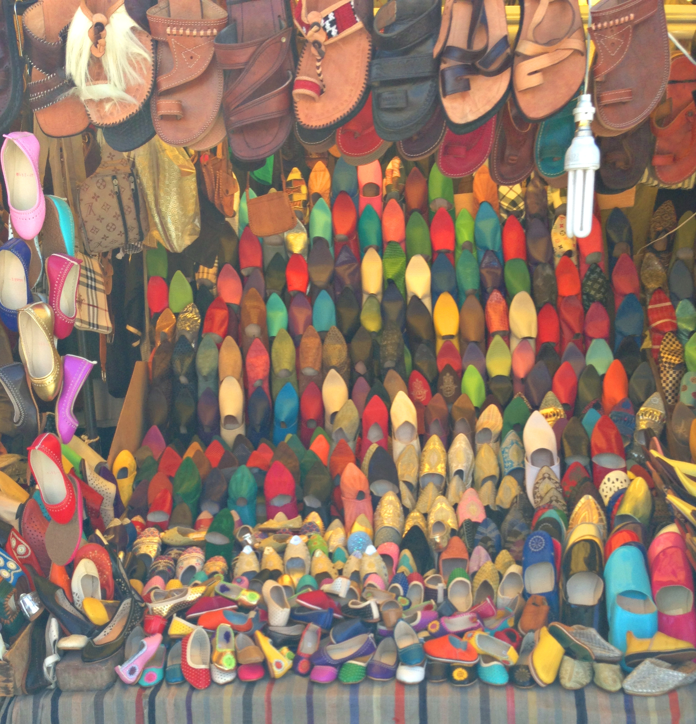 Shoes and  babouches  at the Grand Souk