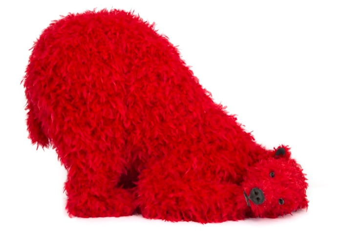 Paola Pivi's red polar bear promises to entertain and engage at the inaugural season of Galerie Perrotin in New York